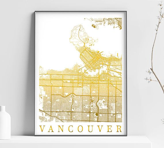 Map of Vancouver, CANADA - Vancouver Home Decor - Vancouver Wall ...