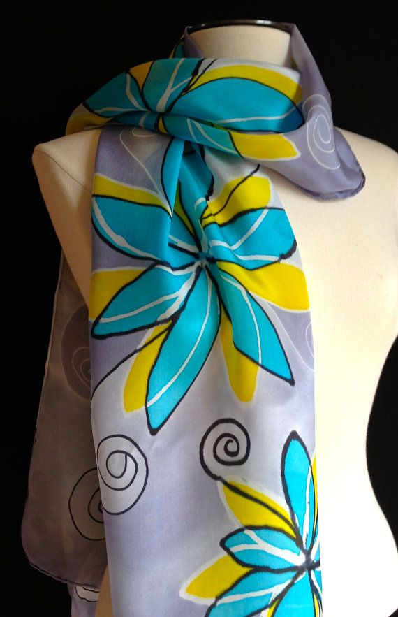 Hand painted silk scarf sheer and flowing by FantasticPheasant, $35.00