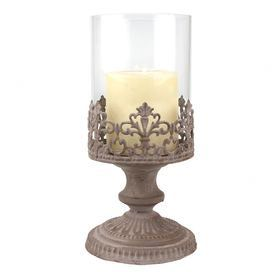 """Glass hurricane with iron filigree base.   Product: Hurricane Construction Material: Glass and ironColor: Silver and clearAccommodates: (1) Pillar candle - not includedDimensions: 8.75"""" H x 4.5"""" Diameter"""