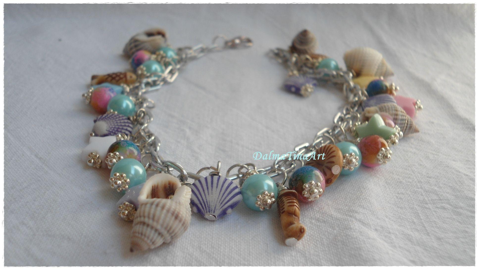 glass bead,plastic bead,sea shell star,fish | Charm Bracelets ...