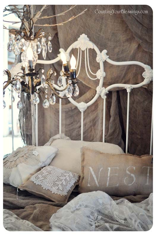 Cream And Beige Iron Bed Nest Pillow White Iron Beds Shabby