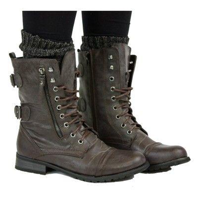 Ladies WANTED Military Grunge BLACK Biker Boot Zip Shoe Sizes UK 4-8