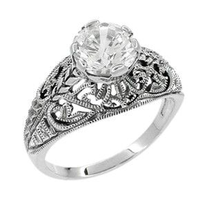 Sterling Silver CZ Engraved Vintage Engagement Rings