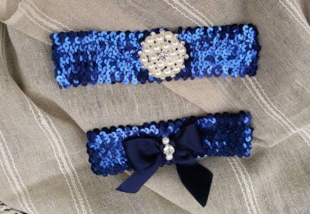 Wedding leg garter,Wedding Garter Set, Bridal Garter Set, Dark Blue Sequined Garter, Bridal Accessory,Wedding Accessory