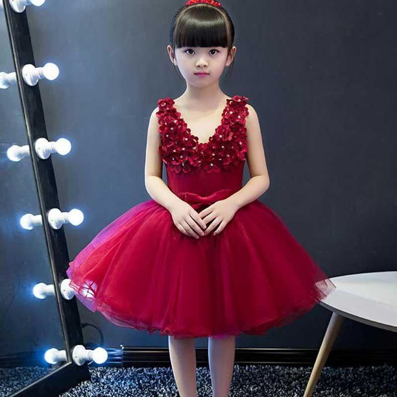 f5d65e37d9e Wine Glow Lovely Flowers Kids Party Dress Baby Birthday Dress, Birthday  Dresses, Baby Dress