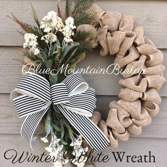 Photo of Summer Wreath, Everyday Burlap Wreath, White Wreath, Burlap Wreath, Front Door Wreath, Everyday Wreath, All Seasons Wreath