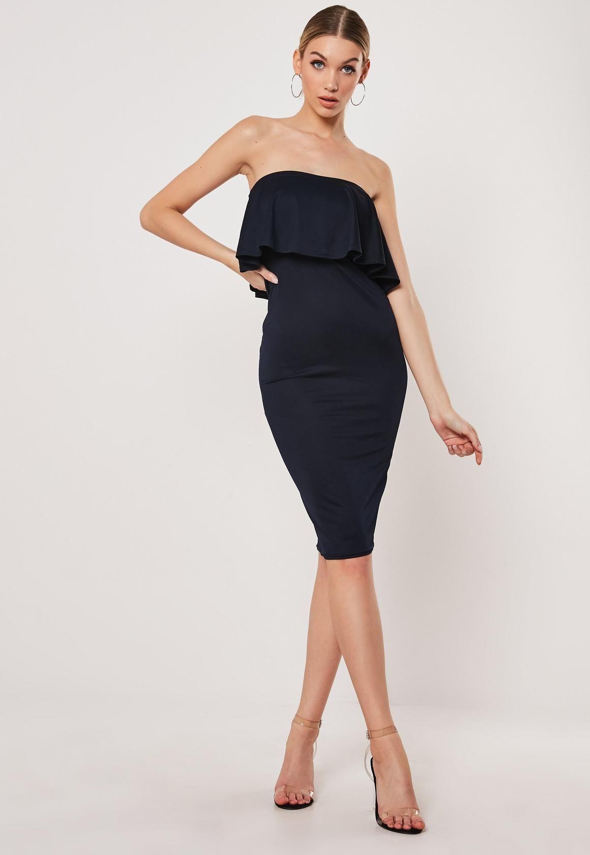 Navy Frill Bandeau Bodycon Midi Dress Missguided Midi Dress Bodycon Women Dress Online Trending Dresses [ 1681 x 1160 Pixel ]
