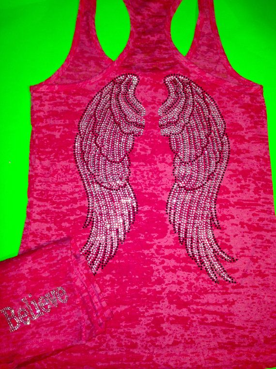 Angel wings burnout rhinestone tank top Ladies workout shirt Fitness gym top