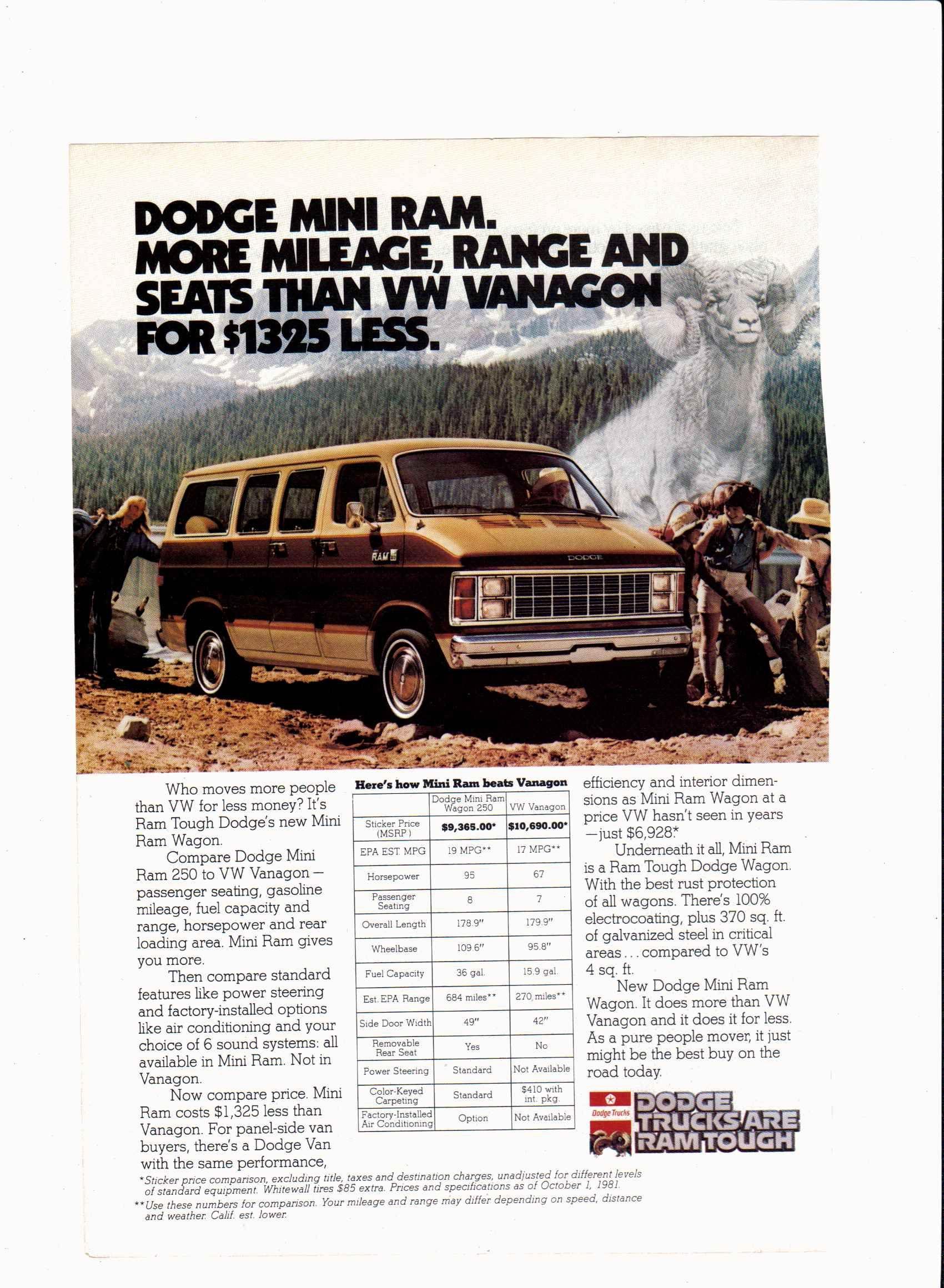1982 Dodge Mini Ram Van ad National Geographic, December ...