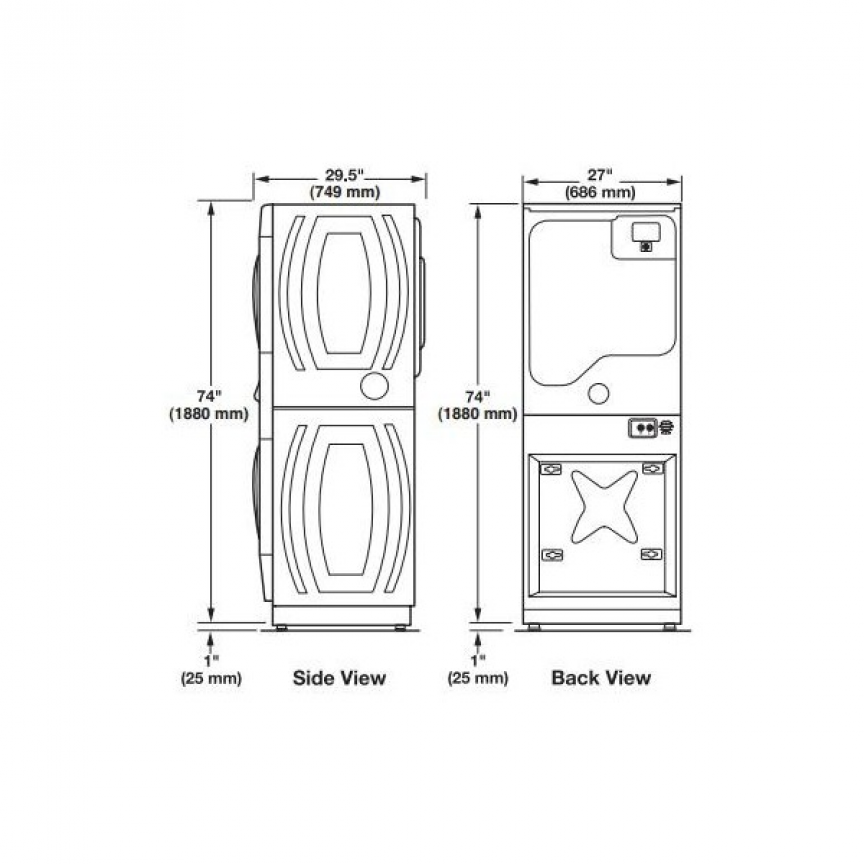Washer Dryer Closet Size Laundry Closets Stackable Washer Dryer
