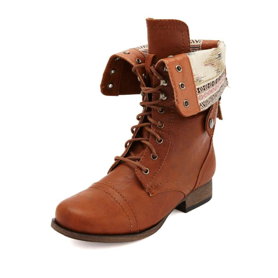 396ca4abb This military style bootie comes in distressed vegan leather with a lace-up  front and. Coturnos MarronsBotas De RendaSapatos ...