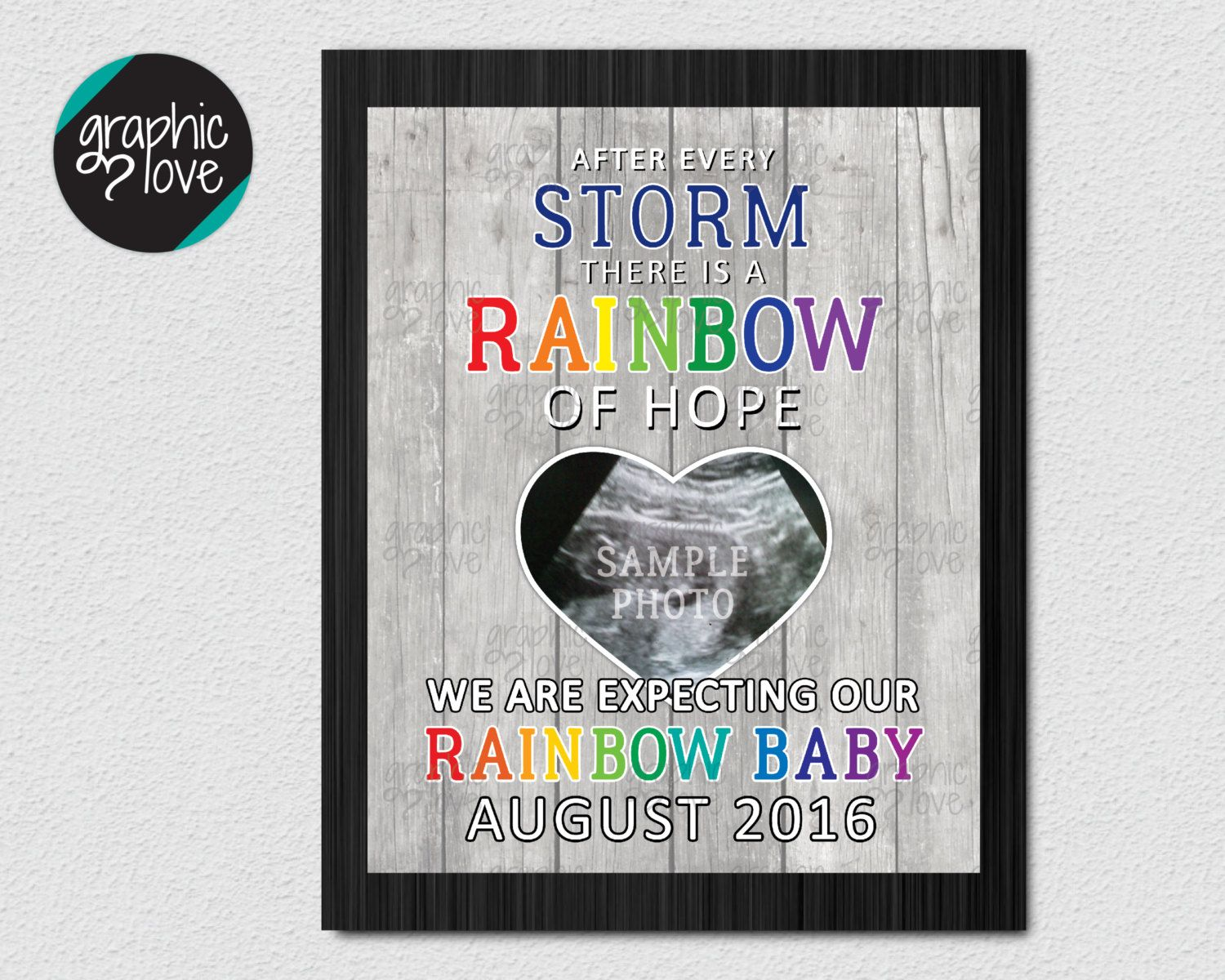 Personalized Ultrasound Photo Rainbow Baby Pregnancy Announcement