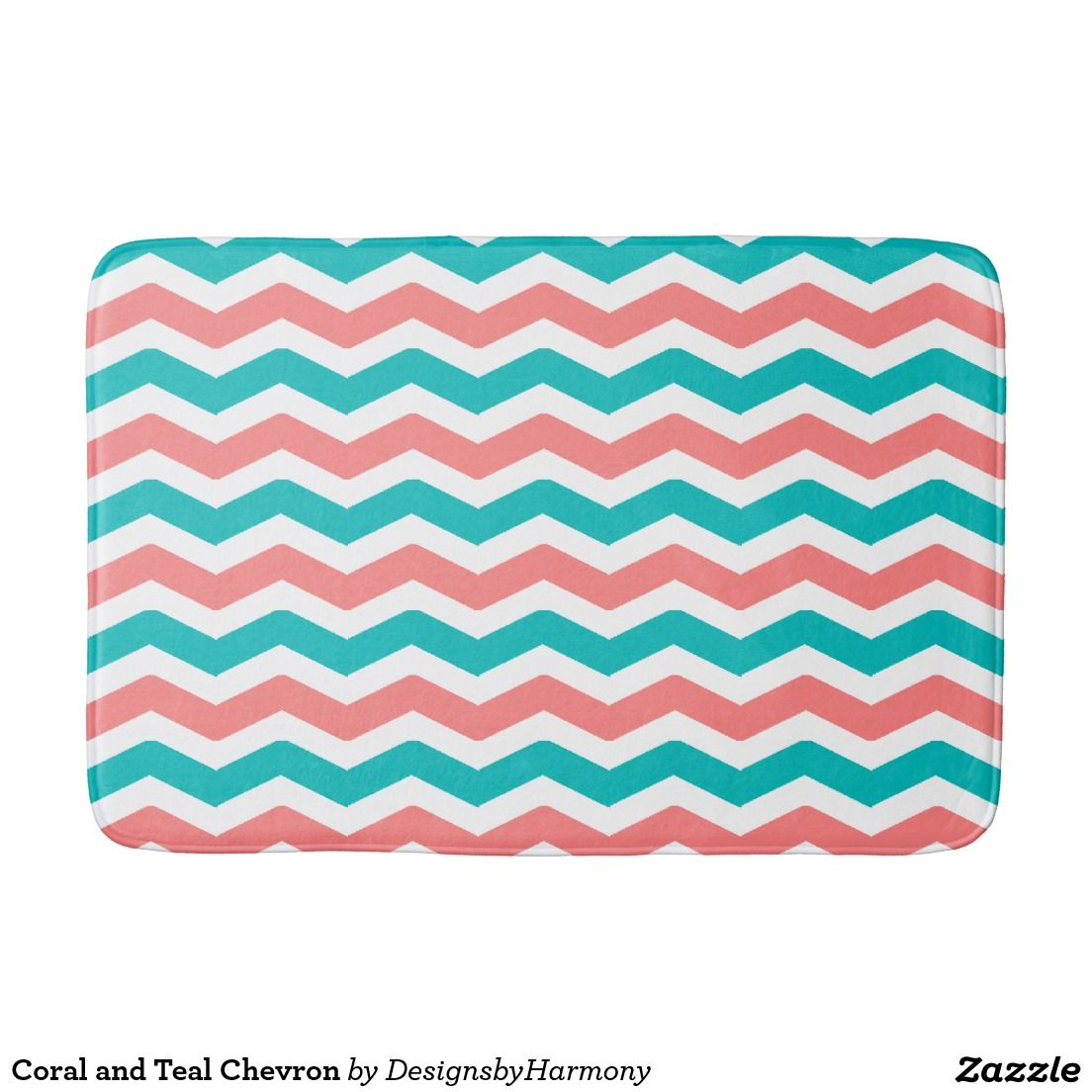 Coral and Teal Chevron Bathroom Mat