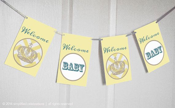 baby shower bunting with crown and pink, blue or yellow chevron – DIGITAL file only – DIGITAL file only on Etsy, $8.00