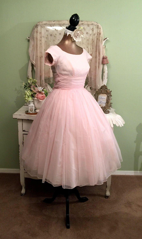 Pink Chiffon 50s Dress, Elegant Ballerina, 1950s Dress, XXS/XS ...