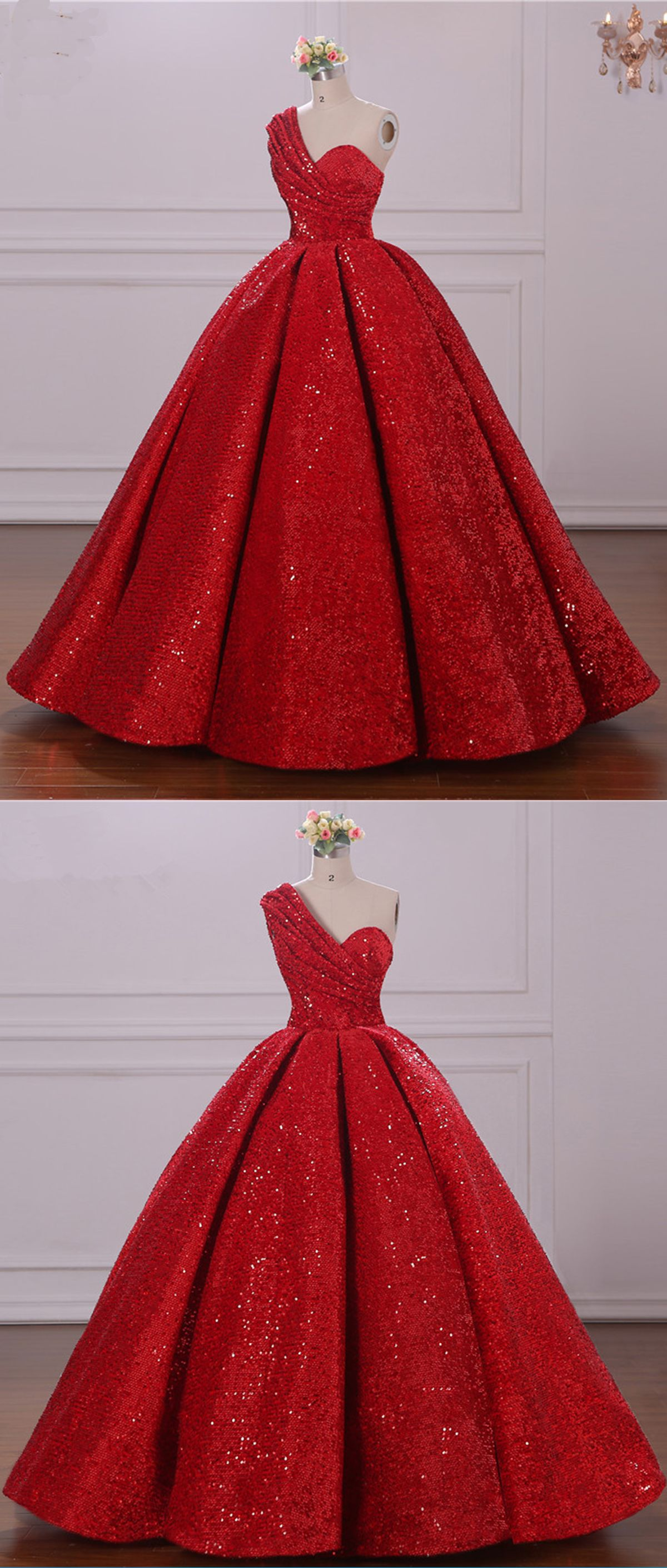 Red sequins one shoulder aline long homecoming dress party dress