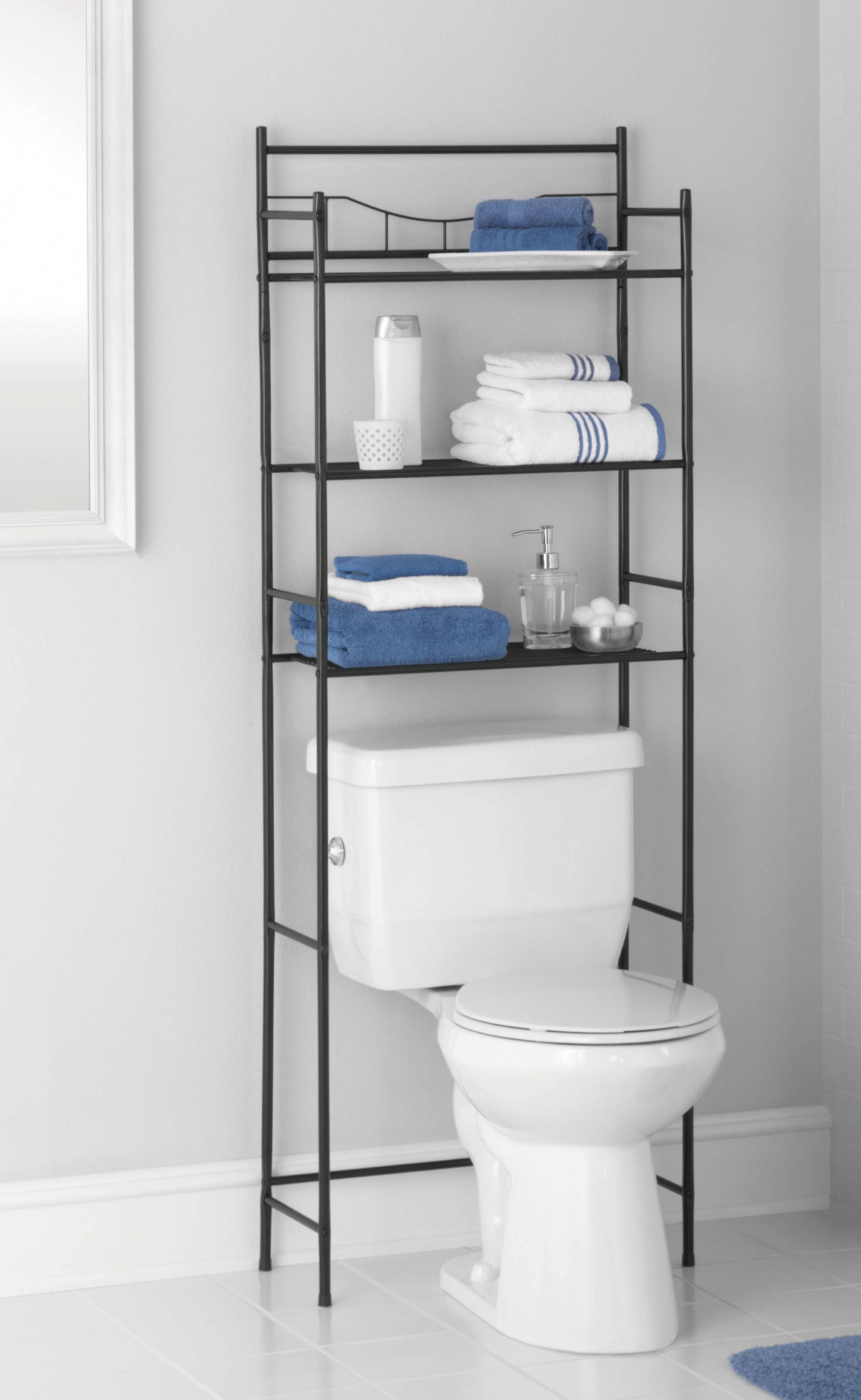 Mainstays 3 Shelf Bathroom Over The Toilet Space Saver With Liner Oil Rubbed Bronze Walmart Com In 2021 Bathroom Space Saver Small Bathroom Storage Trendy Bathroom