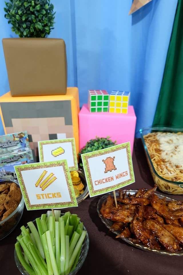 Celery Sticks Chicken Wings Cookies And Pasta Minecraft Birthday