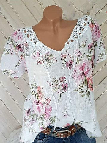 Floral Print 3/4 Sleeve Layers Loose Plus Size Blo