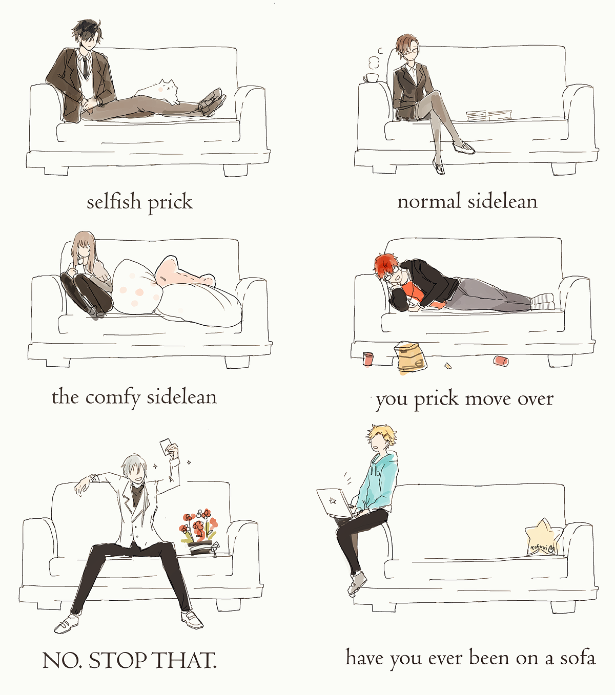 "citrusflan: "" how the rfa members sit on a sofa. my last contribution to this fandom (based off this) """
