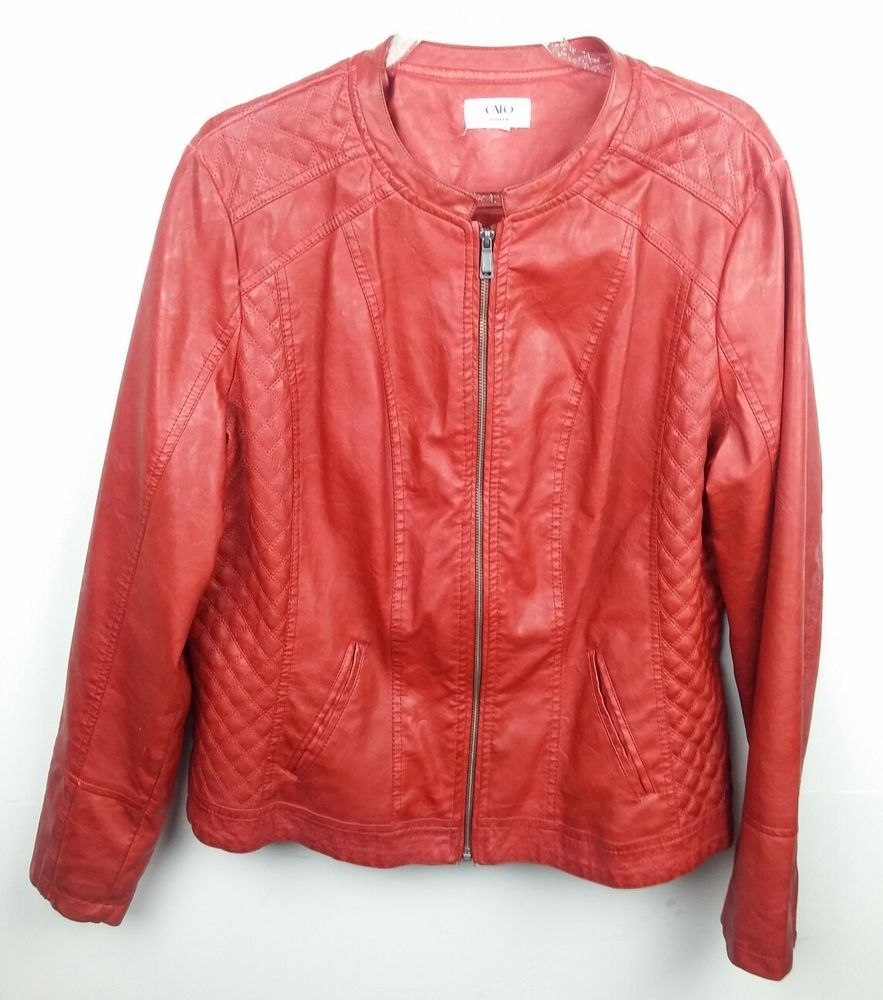 Cato Women's XL Jacket Red Faux Leather Motorcycle Zipper
