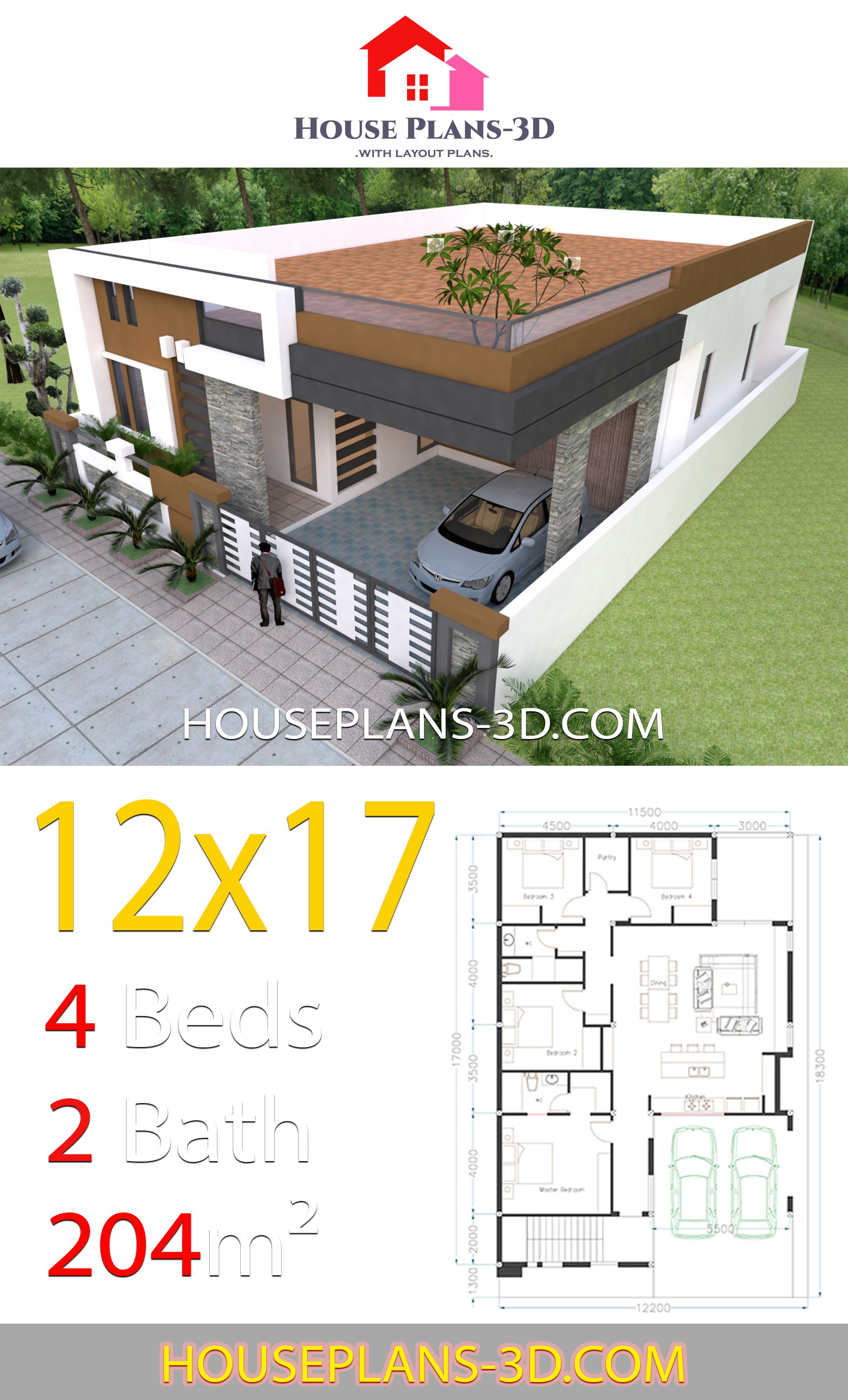 House Design 12x17 With 4 Bedrooms Terrace Roof House Plans 3d In 2020 House Construction Plan Model House Plan House Plan Gallery