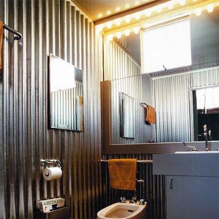 Corrugated Sheet Metal In Bathrooms Corrugated Metal Wall Tin Walls Bathroom Design