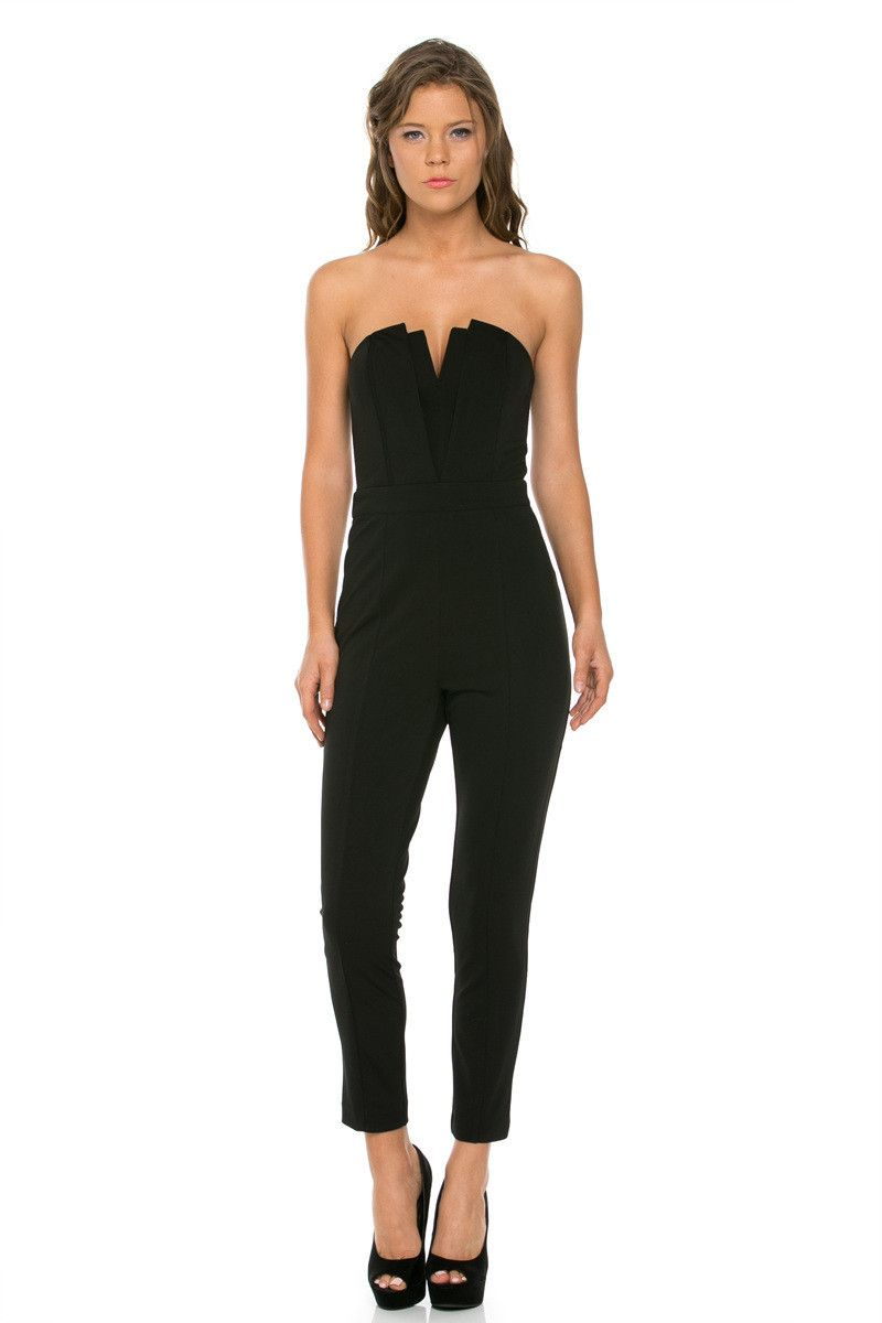 66ca21ded9 Happy hour starts with this babe of a jumpsuit. Work your dance floor moves  in a look that s just mesmerizing. It comes in black and features a  strapless ...