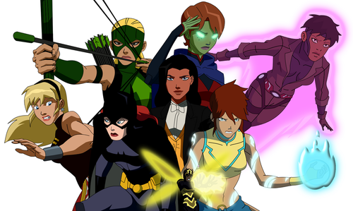 Girls Of Young Justice Wallpaper With Comic Book In The Justica Jovem Club