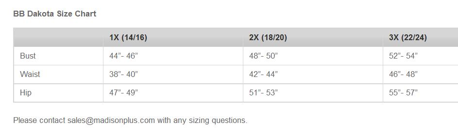 BB Dakota Plus Size Chart via madisonplusselect.com