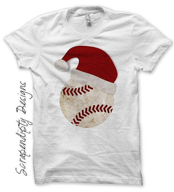 Christmas Iron on Transfer - Iron on Santa Hat Shirt / Toddler Santa Baseball Shirt / Baby Holiday Outfit / Christmas Sports Jersey by ScrapendipityDesigns, $2.50