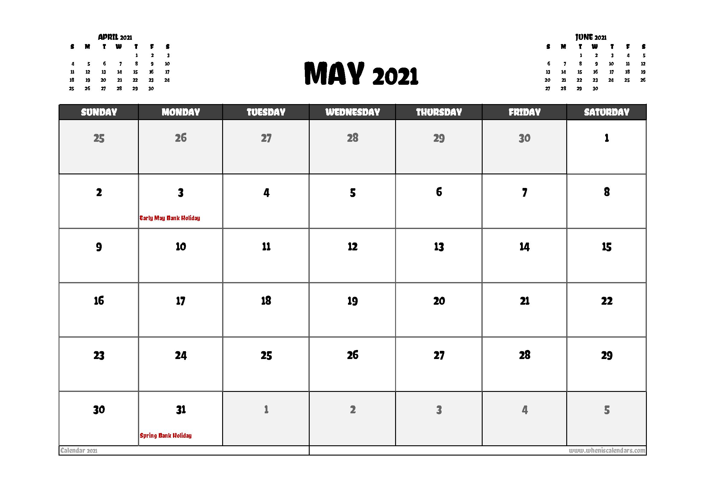 Free May 2021 Calendar UK Printable in 2020 | Calendar uk ...