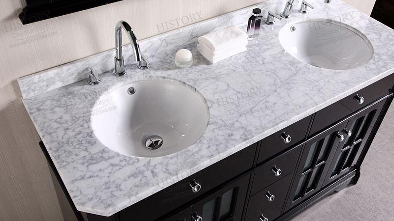 Best Carrara White Marble Bathroom Vanity Countertops Double
