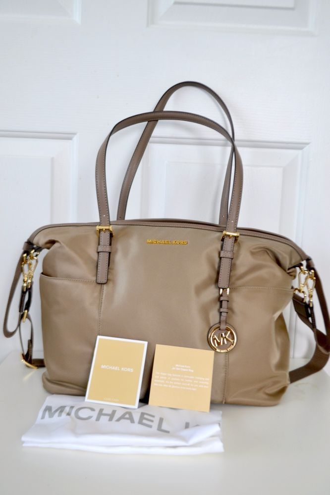 3671027b3304 Michael Kors Jet Set Large Tan Dusk Dark Dune Nylon Pocket Baby Diaper Bag