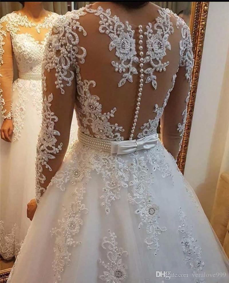 Detachable Skirt Wedding Dresses 2018 Vestido De Noiva De Renda Illusion  Long Sleeve Bridal Gowns with Lace Appliques 402638706f67