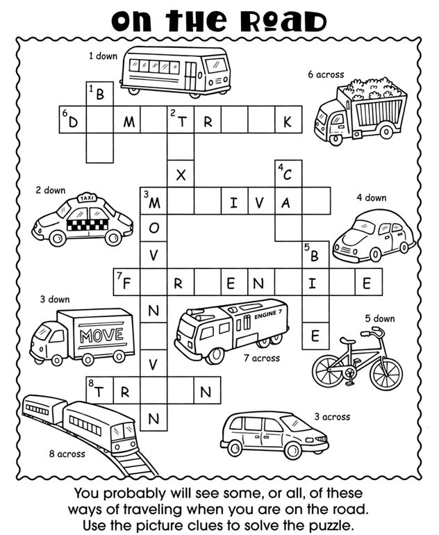 on the road kids crossword puzzle | Literacy Stations | Pinterest