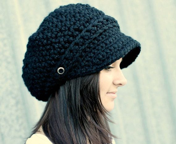 Black Hat Black Newsboy Hat Black Crochet Hat Black Womens Hat Black