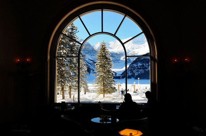 Winter scene from the lounge of the Fairmont Chateau Lake Louise. Been there in Autumn but would love to revisit in Winter