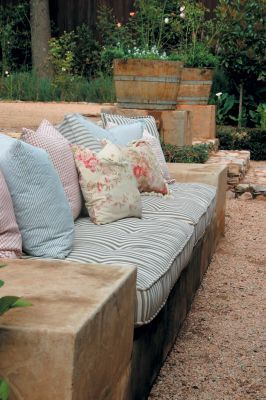 Patio pick me- ups - On the bench   Weatherproof outdoor furniture is expensive, so if you're renovating a patio or building a wall adjacent to one; it's a good idea to build in a bench or a seat. With a couple of comfortable seat cushions and a selection of scatters it's as comfortable as furniture - at a fraction of the price.
