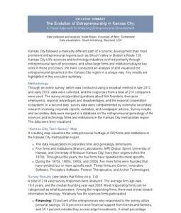The Evolution Of Entrepreneurship In Kansas City A Visual Approach To Analyzing Entrepreneurial Development Entrepreneurial Executive Summary Entrepreneurship