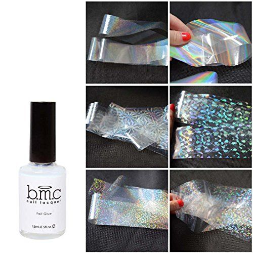 BMC 6 Sheet Clear Holographic Nail Art Foil Strips With A...