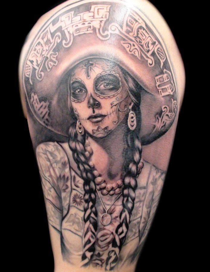 day of the dead tattoo tattoos pinterest sombreros tattoo and sugar skull girl tattoo. Black Bedroom Furniture Sets. Home Design Ideas