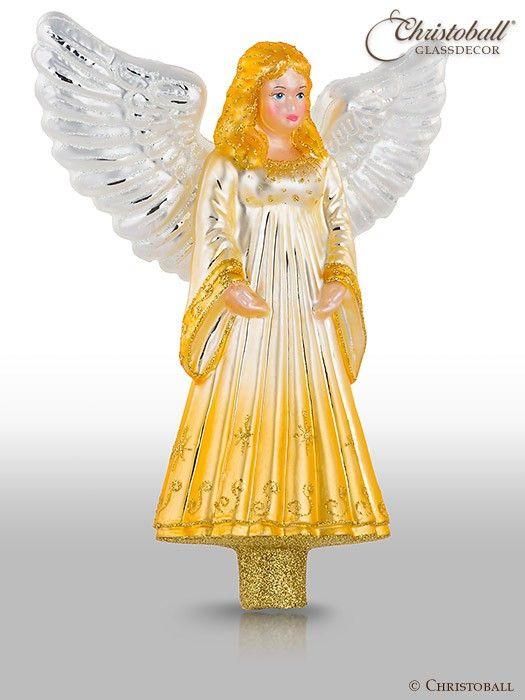 Christbaumspitze engel gold weihnachten pinterest for Nostalgische weihnachtskugeln
