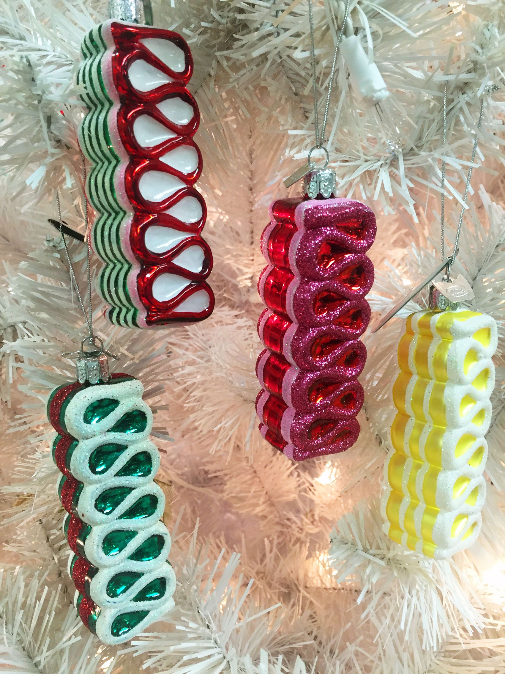 Sets Of Ribbon Candy Ornaments In Green, Red, White, Yellow