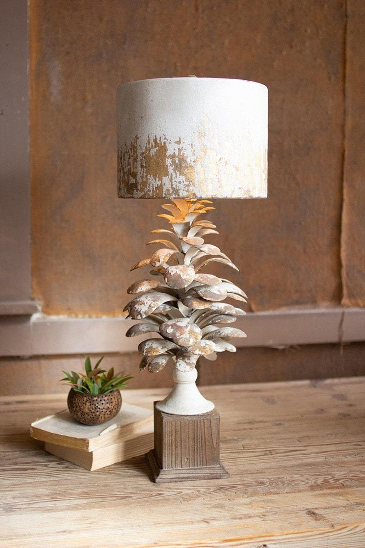 Table Lamp With Pine Cone Base And Metal Barrel Shade by