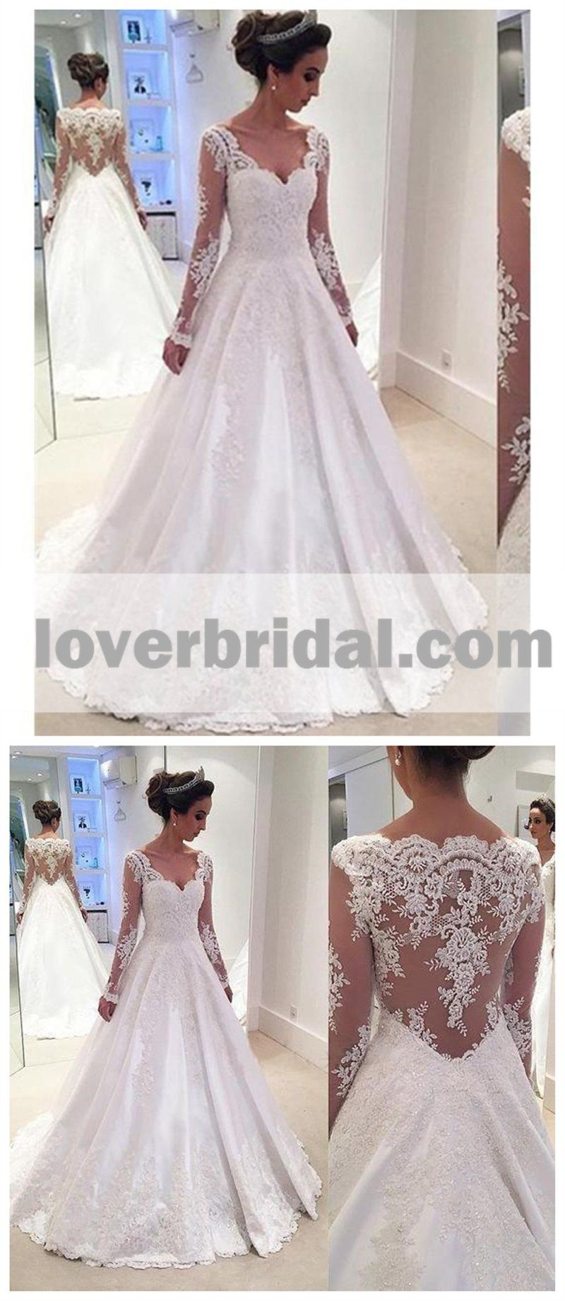 Long sleeve lace aline cheap wedding dresses online wd