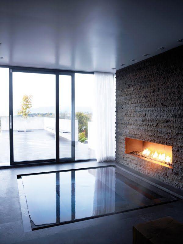 Inset Infinity Hot Tub With Fireplace Indoor Hot Tub Sunken Bathtub Bathroom Fireplace