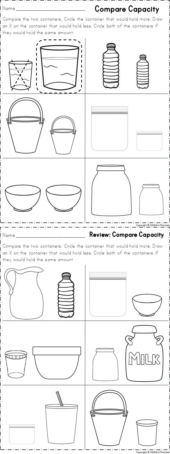 worksheets for comparing capacity part of a kindergarten math unit on measurement school. Black Bedroom Furniture Sets. Home Design Ideas