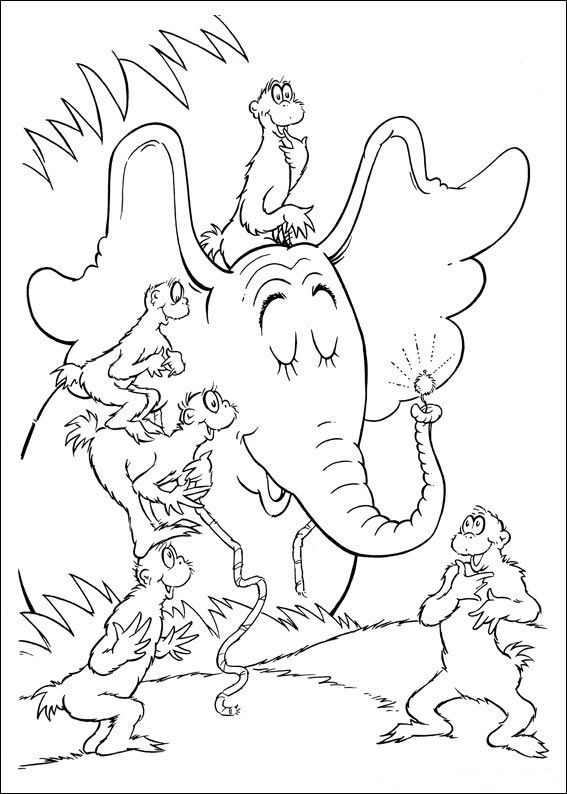 bookmarks to color Fun Coloring Pages Horton Dr Seuss