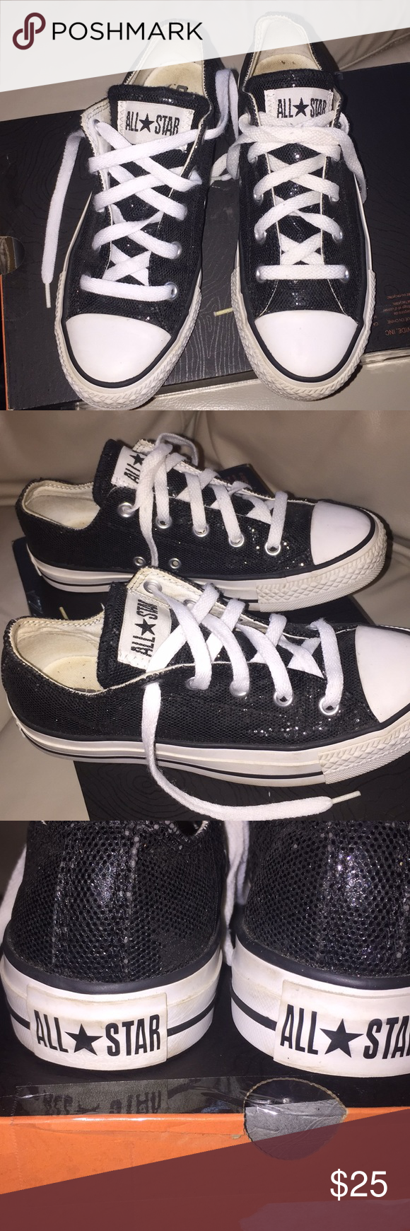 c08c07b89e77 All Stars Converse Beautiful low cut black glitter on great condition size 6  women Converse Shoes Sneakers